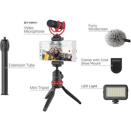 BOYA BY-VG350 Smartphone Vlogger Kit Plus with BY-MM1+ Mic, LED Light, and Accessories